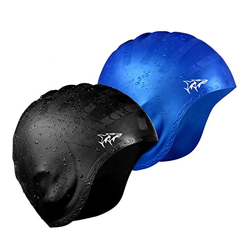 Swim Cap for Long Hair 2 Pack 2019 Thicker Design Solid Silicone Waterproof Swimming Caps for Woman Adults and Men (Black+Blue)
