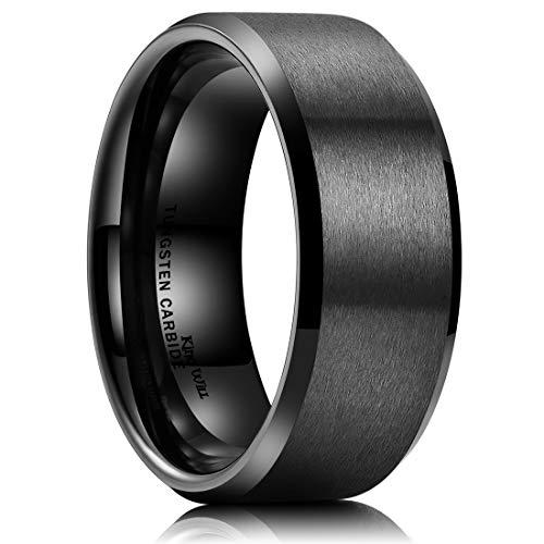 King Will Basic Men Wedding Black Tungsten Ring 9mm Matte Finish Beveled Polished Edge Comfort Fit 9