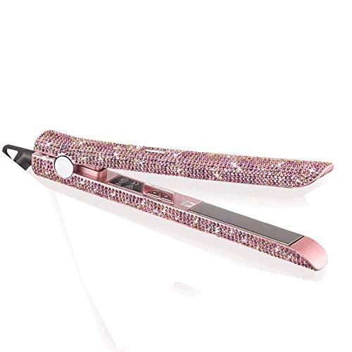 Plancha de pelo de cristal profesional Plancha de titanio Plancha de pelo de diamante Estilos de pelo de cristal Herramientas calientes con cristales Bling-Rosa