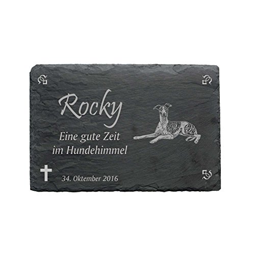 gedenktafel « Wind perro » de pizarra–Aprox. 22x 16cm–impermeables grabado