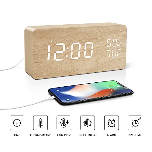 BlaCOG Digital Desk Clock Wood Electric Alarm Clock Easy Setting with Snooze/Time/Temperature/6 Level Brightness/2 Charging Ports/12/24Hr for Office, Desk, Bedroom, Gift Bamboo