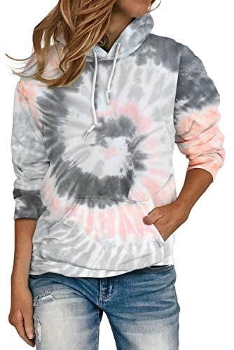 HVEPUO Sudaderas Unisex Invierno Women Cambia Color Moda Casual Tie Dye Hoodie Sudsderas Mujer Calentitas Gris M
