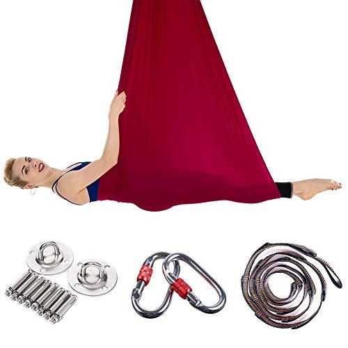 JIALFA Amaca Yoga antigravity,Altalena Yoga di Seta - praticando Yoga Aerea - Esercizi di inversione, flessibilità migliorata e Resistenza del Nucleo - Accessori di Montaggio Inclusi (Vino Rosso)
