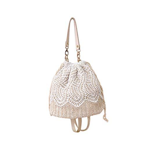 holitie Damen Umhängetasche Taschen Shoulder Bag Handtasche Satchel Schulter handbag Rucksack Strand-Blumen-Stroh-Eimer-Beutel-Leinwand-Quadrat-Beutel-Kuriertasche
