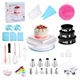 Cake Decorating Supplies, Cake Decorating Tools Kit with Springform Cake Pans Set,Cake Rotating Turntable, Muffin Cup Mold, Baking Supplies for Beginners and Cake Lovers