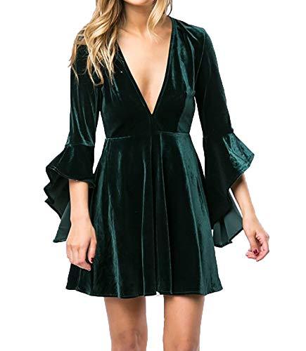 Caitefaso Womens Fall Velvet Plunge Party Dresses Flare Long Sleeve V Neck Elegant Swing A Line Mini Dress
