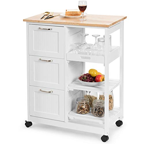 COSTWAY Kitchen Island Cart, Rolling Storage Trolley with 3 Drawers, Open...