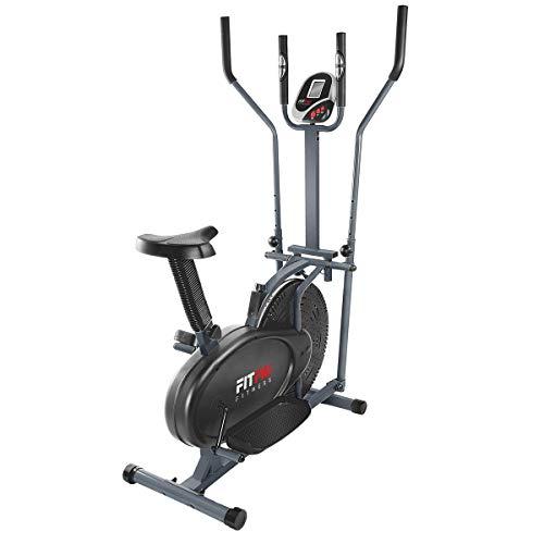 Fitfiu Fitness BELI-120 - Bicicleta multifunción Elíptica y Estática con sillín regulable y disco de inercia de 5 kg, 2 manillares, pantalla LCD y pulsómetro