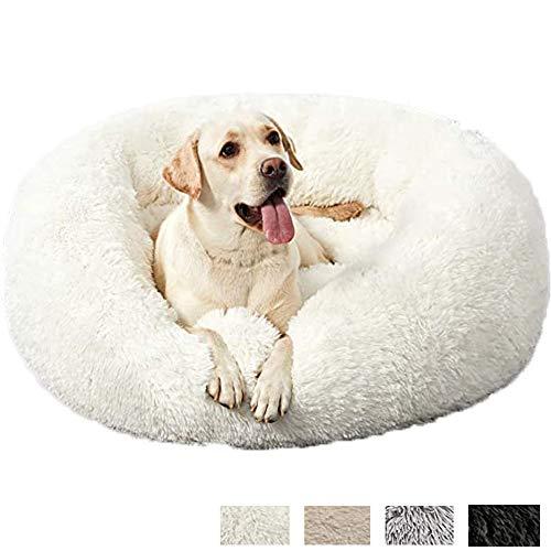 HANHAN Cama de mimbre mullida para perro con forma de donut ortopédica media/extra grande/Jumbo 2 perros mayores Labrador calmante ansiedad cueva sofá lavable cómodo redondo XL blanco
