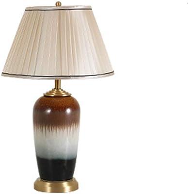 -lampe bureau Lampe de table de style européen Luxe Cuivre Tissu Céramique Table Lamp Hôtel Étude Salon Chambre Lampe de chevet Lampe de table deco bureau lampe (Color : B)