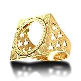 Anello da uomo in oro massiccio 9 carati, a forma di quadrifoglio, misura V