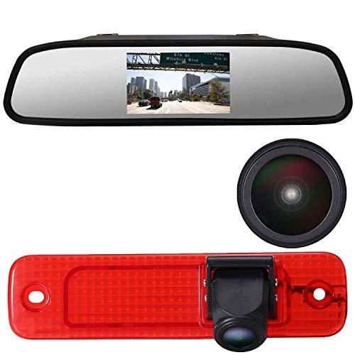 Kit de cámara de visión Trasera para Ford Transit Puerta Trasera Van Van 3 Bj 04.2006-01.2009, Cámara HD reversa de luz de Freno Impermeable + 4.3'' Espejo retrovisor Monitor