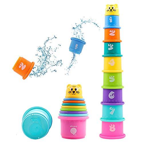 Hyselene 9 Stück Stapelbecher Baby, Sandspielzeug Badespielzeug Kinder mit Zahlen Obst Tier, Stapelturm Stapelwürfel Baby Spielzeug, Pädagogisches Spielzeug für Junge Mädchen, Spielzeug ab 6 Monaten