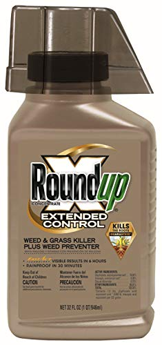 Roundup 5705010 Concentrate Extended Control Weed & Grass Killer Plus Weed Preventer II, 32 oz, Brown
