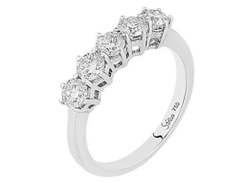 5 Diamanten ins. 1,20 Karat Allianz Ring Memoryring in 585er 14K Weißgold