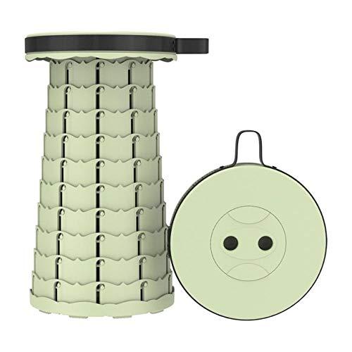 Taburete retráctil Plegable Chiar Taburete portátil para Exteriores Silla Plegable Taburete de Camping PrácticoTaburete de plástico Plegable paraPesca- Verde