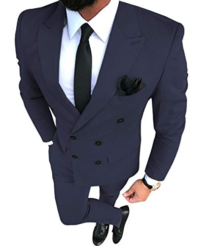 Business Mens Suit 2 Pieces Double Breasted Formal Wedding Slim Fit Jackets Tuxedos(Blazer+Pants)(Navy,40US)
