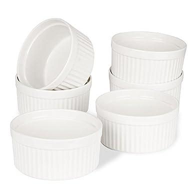 Porcelain Ramekins, SZUAH Ramekin Set of 6, 8oz for Baking, Creme Brulee, Souffle, Appetizer, Custard, Pudding, Dipping Bowl.