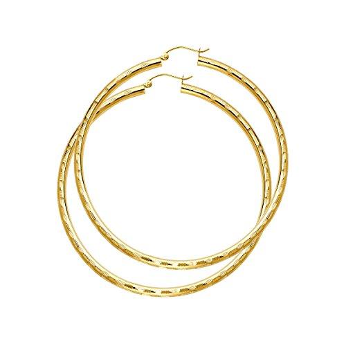Pendientes de aro con bisagras de oro rosa y amarillo de 14 quilates, 3 mm de grosor, corte de diamante, cualquier tamaño disponible
