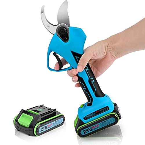 DEREAL Professional Electric-Pruning-Shears Battery Powered with 2 Pcs 21V Backup Rechargeable 2Ah Lithium for Tree Branch Cordless Pruner Shears Cutter for Garden 32mm Cutting Diameter