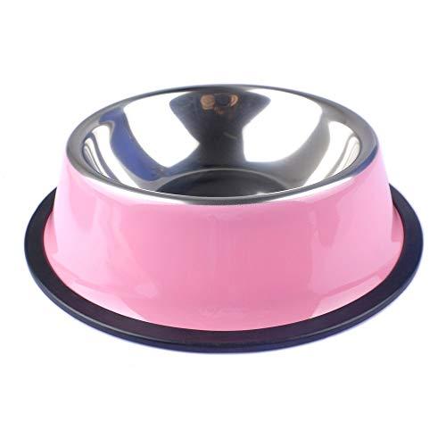 Glqwe Haustier Hund Katze Schüssel, Pet Hundenapf Edelstahl-Haustier-Nahrungsmittelzufuhr for Small Medium Hunde Katzen Hund Trinkwasser-Zufuhren for Welpen Pet Supplies (Color : Pink, Size : L)