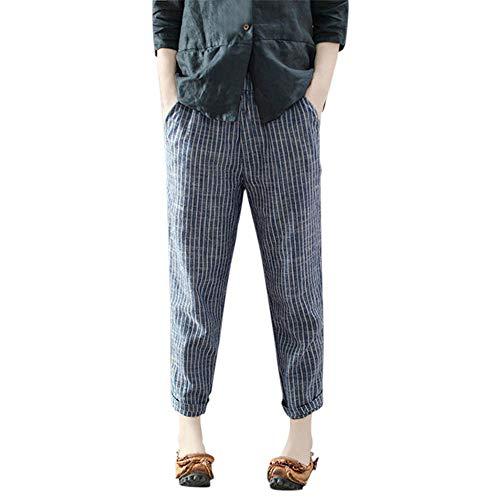 Zainafacai Women's Casual Cotton Linen Striped Pants Elastic Waist Ankle-Length Wide Leg Pants Trousers Blue