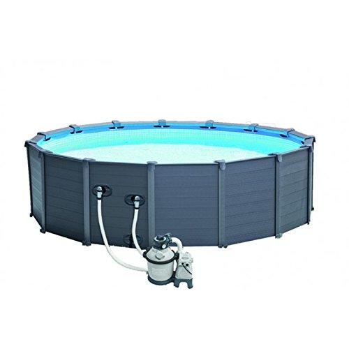 Intex Graphite Gray Panel Pool Set, blau/grau, 478 x 478 x 124 cm, 16,81 L, 28382GN