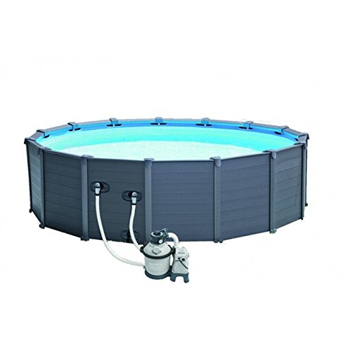 Intex Graphite Grey Panel Pool Set, blu / grigio, 478 x 478 x 124 cm, 16,81 L, 28382GN