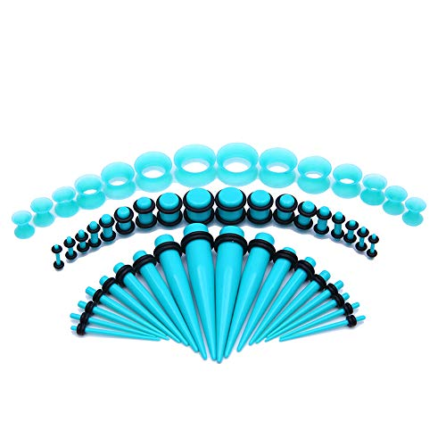 Bodystars Ear Gauges Stretching Kit - 50Pcs Acrylic Tapers and Plugs Silicone Tunnels Set, Prefect for Punk,Rock,Street or Daily (Aqua)