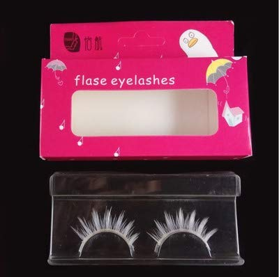 ETbotu Mode Faux Cils Blancs Longue Cils Extension Doux Cosplay Mascarade Maquillage Pour Yeux une paire