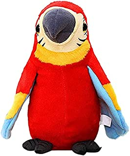 Electric Talking Parrot Plush Toy Bird Repeats What You Say Kids Children Baby Gifts Parrot Toys (Color : Red)