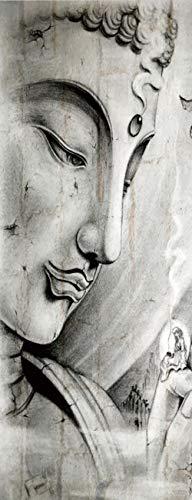 JFDecken Estatua de Buda 3D Vinilos para Puertas Papel Pintado Póster Autoadhesiva Extraíble Impermeable Decorativas de Pegatinas Puertas para Cuarto y Baño 77x200cm
