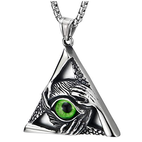 Steel Vintage Green Evil Eye Protection Hands Triangle Pendant Necklace for Men Women 30 Inch Chain