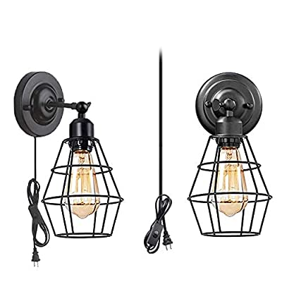 Wall Sconce 2 Pack, Pendant Light Industrial Wall Lamp with Plug-in Cord and On Off Toggle Switch, Vintage Style E26 Base Metal Wall Light Fixture Industrial Rustic Ceiling Lamps