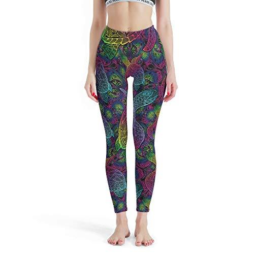 Charzee dames Turtle Mandela yoga broek sport running leggings lang opaak elastische turtle mandela druk joggingbroek push up