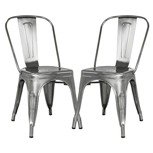 Poly and Bark Trattoria Kitchen and Dining Metal Side Chair in Polished Gunmetal (Set of 2)