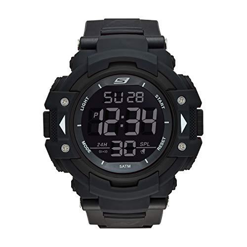 Skechers SR1037 Reloj Digital para Hombre con Correa de Nylon, color Negro