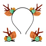Holibanna - Juego de 1 juego de lazos para el pelo, con forma de reno para decoración de Navidad, suministros para fiestas navideñas, objetos de escena (árbol de Navidad rojo) Marrone A
