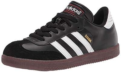 adidas Samba Classic Soccer Shoe, White/Black/White, 1 US Unisex Little Kid
