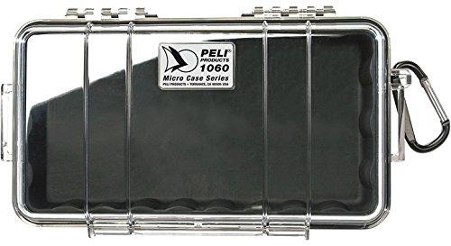 PELI 1060 Micro Valigia protettiva per piccoli articoli, Impermeabile e a prova di polvere con grado di protezione IP67, Capacità di 1,3L, Prodotto in USA, Colore Trasparente/Nero