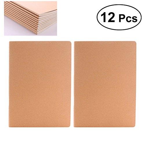 NUOLUX A6 Kraft Hefte in Weiß Einband in Weiß Cover Kraftpapier, 12 Stück