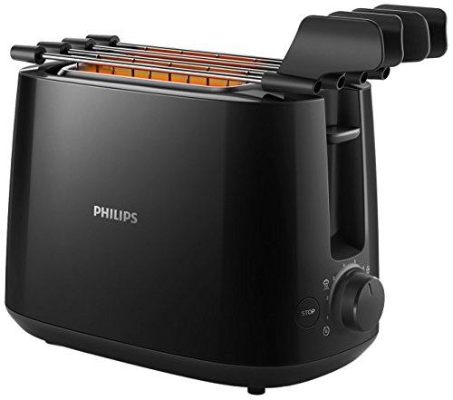 Philips Daily Collection hd2583/908slice (S) 600W schwarz (8Slice Toaster–(S), Schwarz, Kunststoff, Knöpfe, Rotation, China, 600W)