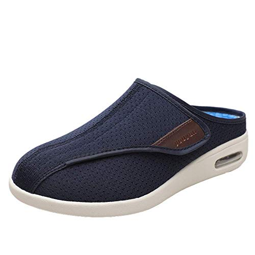 SZFGYJ Unisex Diabetic Shoe, Men Womens Swollen Feet Non-Slip Walking Shoes Adjustable Edema Shoes Extra Wide Comfort Oedema Sandals Elderly,Blue,44