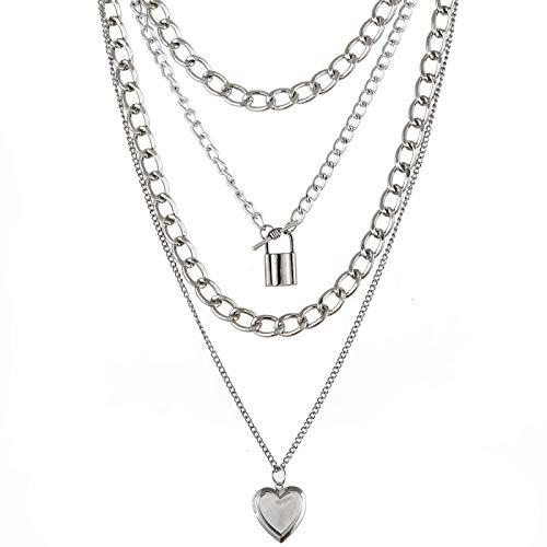 FZNBAR 4 Unids/Set Foto Locket Colgante Collar Moda Cadena Collar Declaración Steampunk Mujeres Mujer Amor Corazón Lazo Collar Joyería Regalo 4