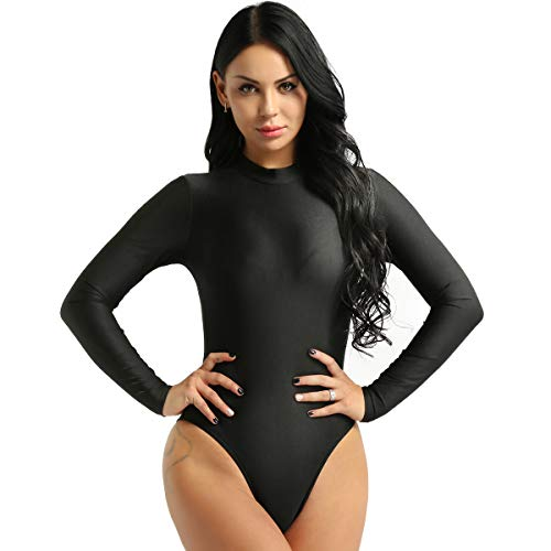 YiZYiF Damen Einteiler Langarm Body mit Rollkragen Unterhemd Stretchy Trikot Leotard Bikini Badeanzug Stringbody Lingerie Dessous A Schwarz XL