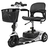 Vive 3-Wheel Mobility Scooter - Electric Powered Mobile Wheelchair Device for Adults - Folding, Collabsible and Compact for Travel - Long Range Power Extended Battery with Charger and Basket Included