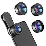 Phone Camera Lens,Upgraded 3 in 1 Phone Lens kit-198° Fisheye Lens + Macro Lens + 120° Wide Angle Lens,Clip on Cell Phone Lens Kits Compatible with iPhone,iPad,Most Android Phones and Smartphones