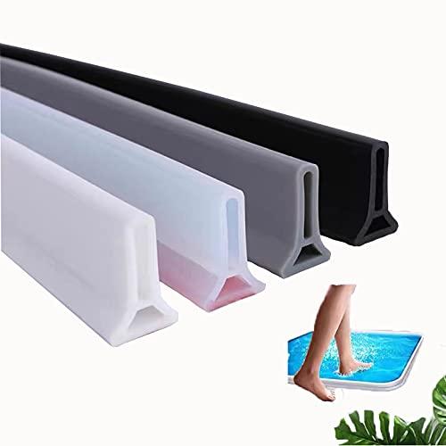 Tira impermeable de sellado de mampara de ducha, tira impermeable de silicona/sistema de fijación de parada de agua, deflector de ducha para bloquear la salida de agua (0.5M,Blanco)