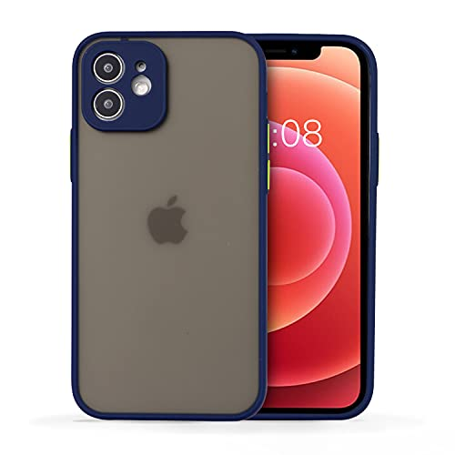 Wkae Colorful Soft TPU Bumper Semi-Transparent cleint Barton Sensation Sand Protection Mobile Phone for iPhone 12 Mini (Dark Blue)