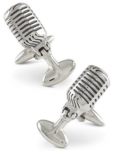 Boutons de manchette homme, Retro Année 50 Microphone radio, Argent 925, Faits mains